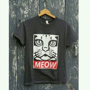 OBEY Meow graphic block print skate tee unisex Sm